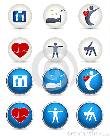 Free Good Sleep, Fitness And Other Healthy Living Icons Stock Images - 39624614