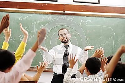 Good teacher in classroom
