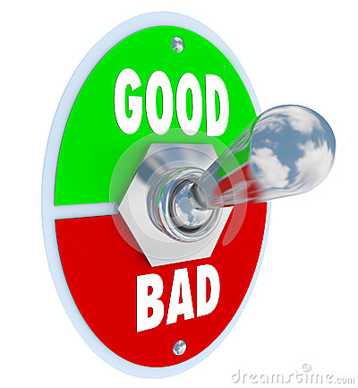 Good Vs Bad Words Toggle Switch Lever Judge Positive or Negative