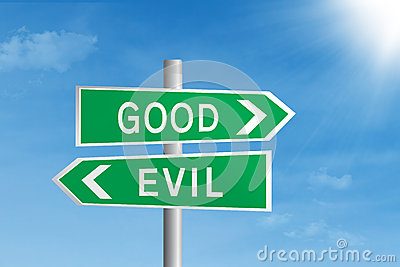 Good vs evil road sign