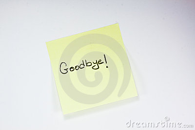 Goodbye Note Stock Images - Image: 15118674