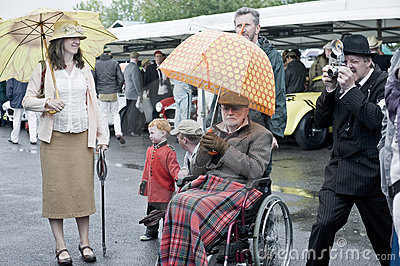 Goodwood revival visitors. Editorial Stock Photo