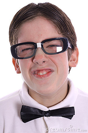 Goofy nerd portrait smile