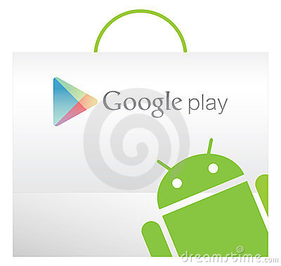 Google play bag with Andriod texture Editorial Stock Image