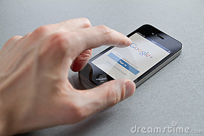 Google Plus On Apple iPhone Editorial Stock Photo