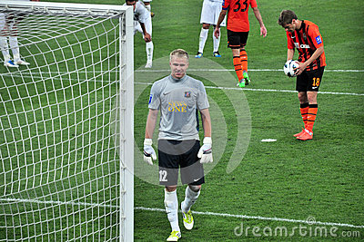 Goolkeeper Borovyk smiling before penalty Editorial Stock Image