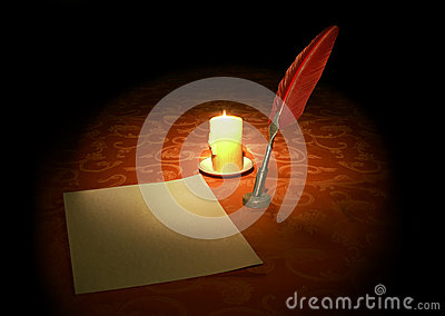 Goose feather, candle and paper sheet