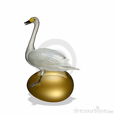 Goose sitting on Golden Egg