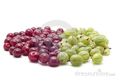 Gooseberries with cherries on white