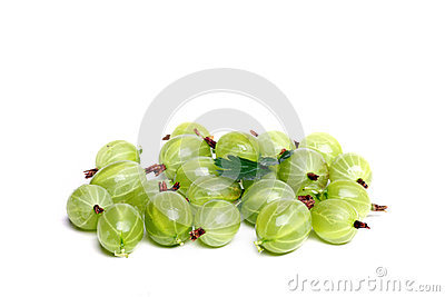 Gooseberries on white