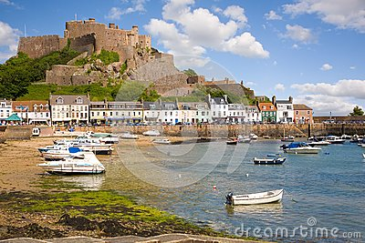 Gorey and Mont Orgueil Castle in Jersey Editorial Stock Image