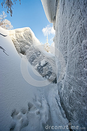 Gorge covered by snow