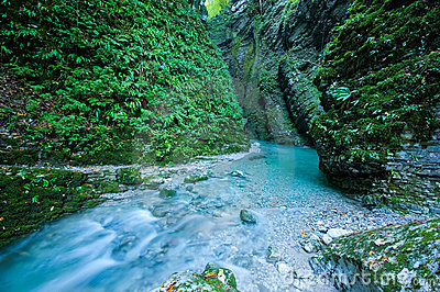 Gorge - Emerald creek in narrow canyon