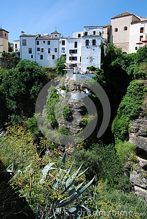 Gorge and town buildings, Ronda, Spain.