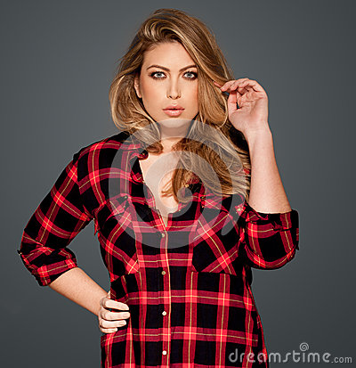 Gorgeous blond in a red checked shirt