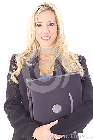Gorgeous blonde holding laptop