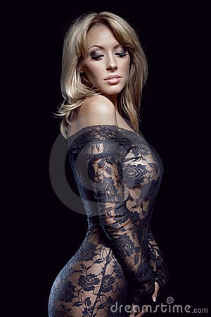 Gorgeous blonde in lace dress