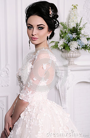 Free Gorgeous Bride With Dark Hair In Luxuious Wedding Dress Royalty Free Stock Images - 85483879