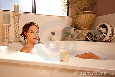 Gorgeous brunette in the bath