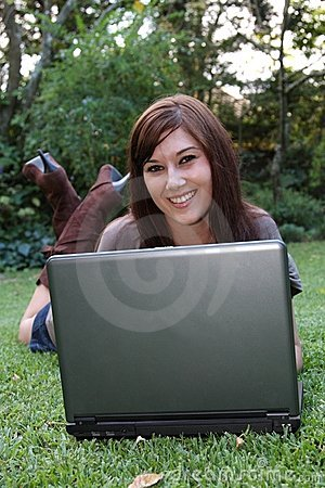 Gorgeous Brunette Lady and Laptop Computer