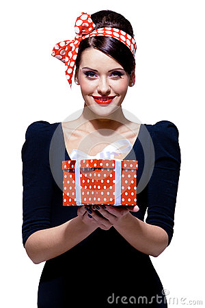 Free Gorgeous Brunette With Gift Box Royalty Free Stock Images - 25657359