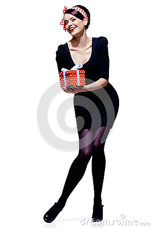 Free Gorgeous Brunette With Gift Box Royalty Free Stock Photo - 28218385