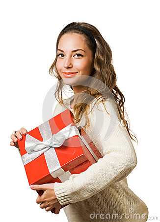 Gorgeous brunette woman holding red gift box