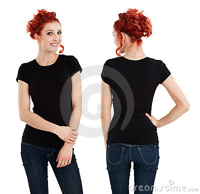 Free Gorgeous Female With Blank Black Shirt Royalty Free Stock Photos - 23277598