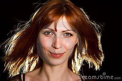 Gorgeous girl in red-haired wig