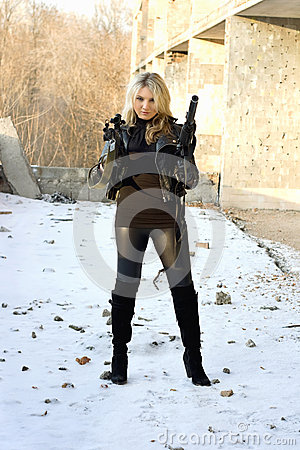 Gorgeous girl with rifle