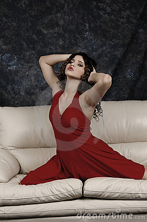 Gorgeous girl on the sofa