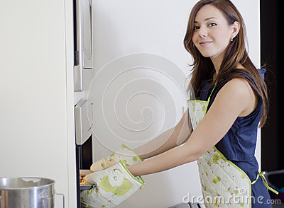 Gorgeous housewife baking cookies
