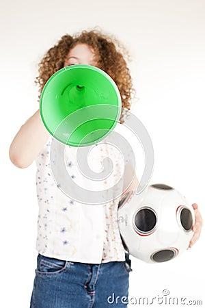 Gorgeous little football fan