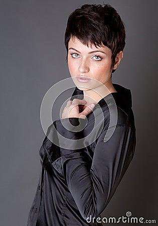 Gorgeous Model in Black Satin Shirt