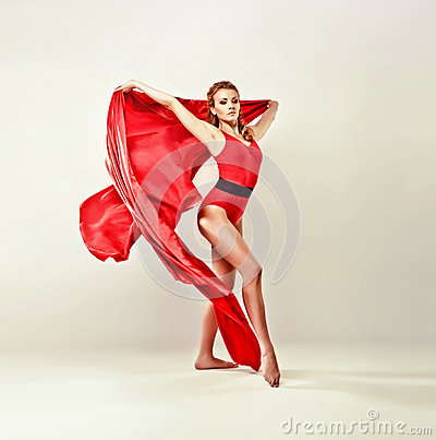 Gorgeous model with red satin cloth