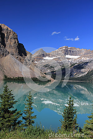 Gorgeous mountain reflection scenic on bow lake in