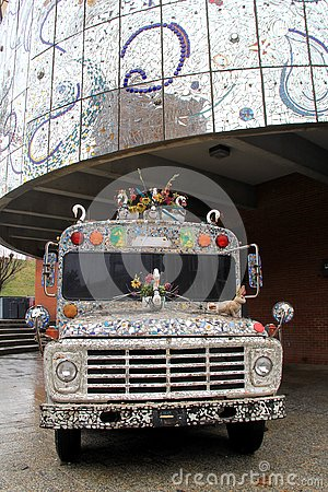 Free Gorgeous Old Bus With Colorful Glass In Abstract Design, American Visionary Art Museum, Baltimore, 2017 Stock Image - 92636541