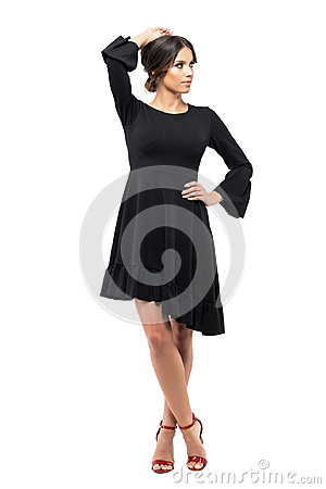 Free Gorgeous Passionate Vogue Latin Woman In Black Dress Posing And Looking Away Royalty Free Stock Photography - 96661977