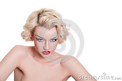 Smouldering retro blond vamp