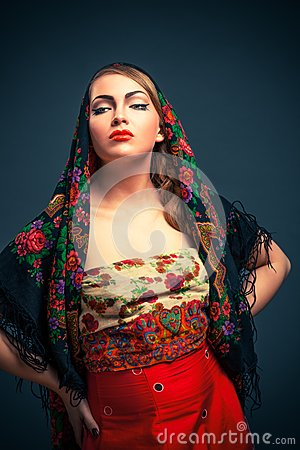 Gorgeous russian woman in shawl