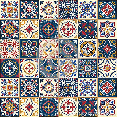 Free Gorgeous Seamless Pattern . Moroccan, Portuguese Tiles, Azulejo, Ornaments. Stock Photography - 64576012