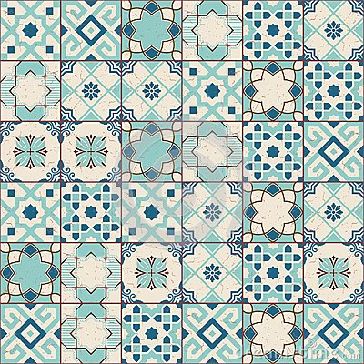 Free Gorgeous Seamless Pattern White Old Green Moroccan, Portuguese Tiles, Azulejo, Ornaments. Can Be Used For Wallpaper Stock Images - 95233494