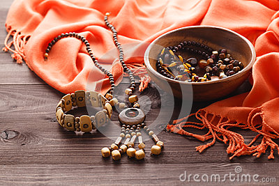 Gorgeous semiprecious stone beads for making jewelry Stock Photo