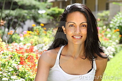 Gorgeous smile beautiful young woman in sunshine
