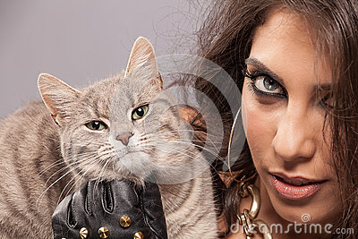Gorgeous woman with cat