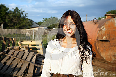 Gorgeous woman in countryside