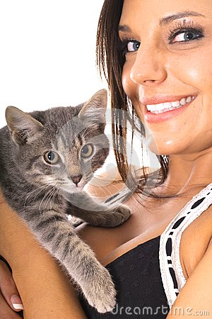 Gorgeous woman with kitty