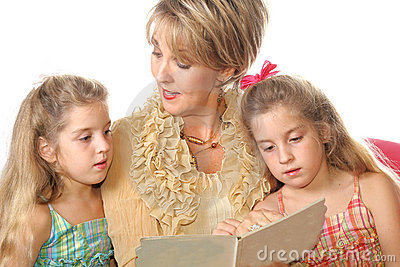 Gorgeous woman reading to her