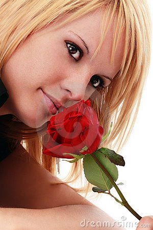 Gorgeous woman with red rose
