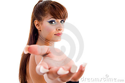 Gorgeous woman showing questioning gesture
